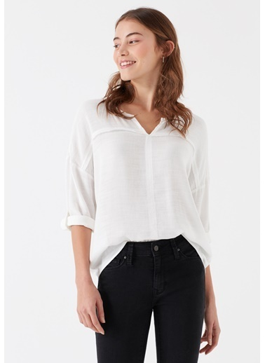Mavi Kadın  Uzun Kollu Bluz 121357-22937 Beyaz